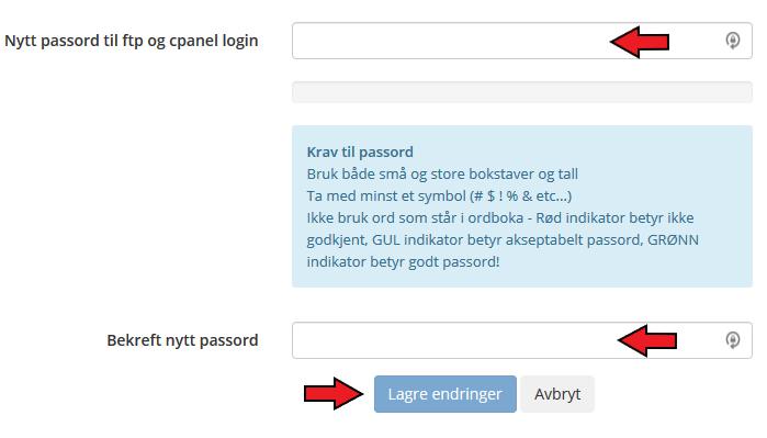 Detaljer FTP passord