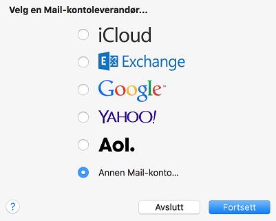 image mail mac velg kontotype
