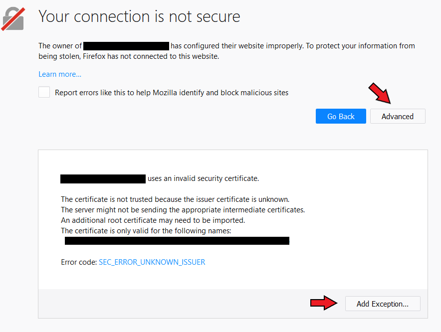 SSL connection not secure