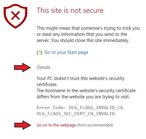 SSL exception
