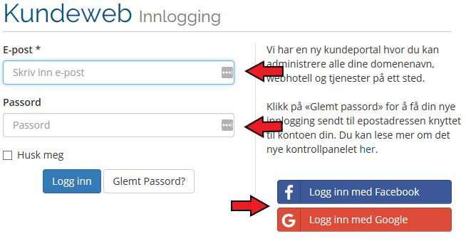 Kundeweb brukernavn og passord
