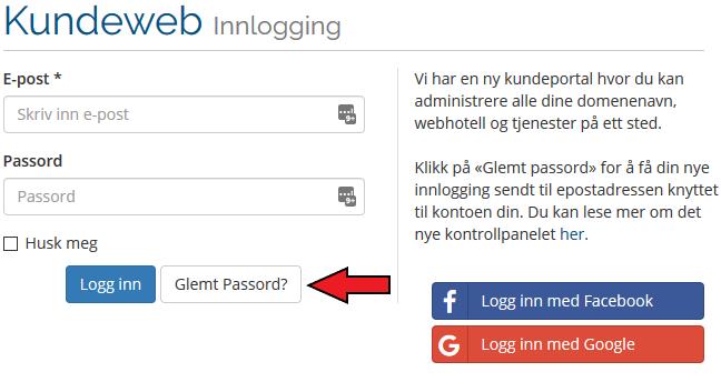 kundeweb glemt passord bildeforklaring