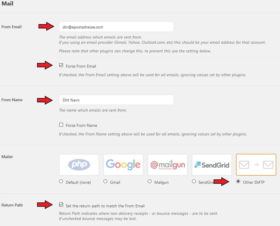 Wordpress instillinger detaljer