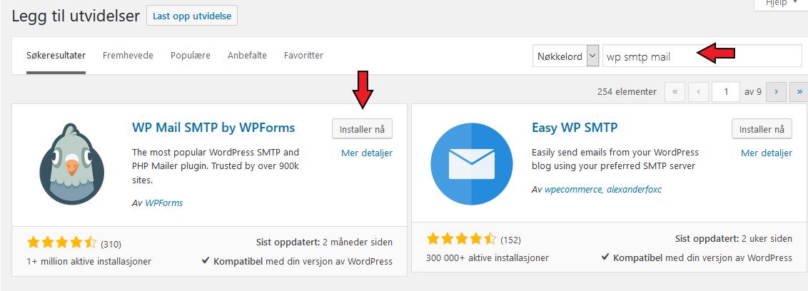 Wordpress smtp tillegg